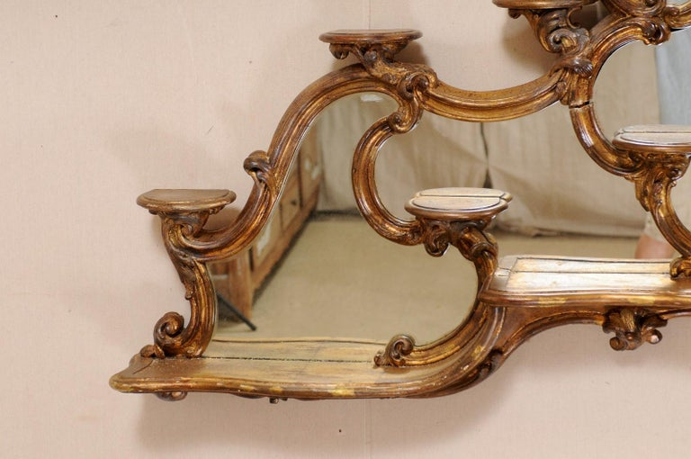 Italian Rococo Style Wall Étagère with Mirrored Back, 19th Century For Sale 2