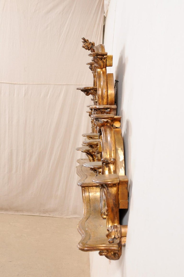 Italian Rococo Style Wall Étagère with Mirrored Back, 19th Century For Sale 3