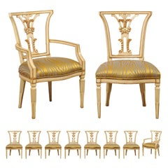 Italian Set of Ten Dining Chairs W/ Front and Backs Carved & W/Original Gilt