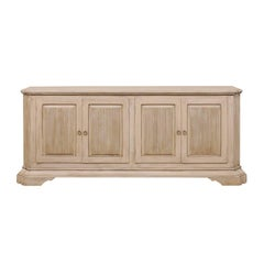 Italian Style Vintage Soft Grey Colored Painted Wood Buffet Sideboard
