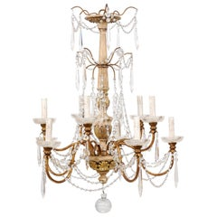 Italian Ten-Light Wood Column Chandelier with Crystal Adornment Mid-20th Century