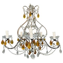 Italian Wrought Iron and Glass Chandelier