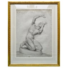 Mid-19th Century Neoclassical Academy Nude Drawing Signed C. Denis