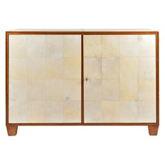 Oak and Vellum Two-Door Cabinet, in the Manner of Jean-Michel Frank