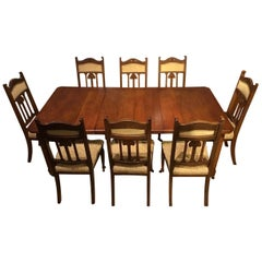 Oak Arts & Crafts Period Extending Dining Table and 8 Chairs