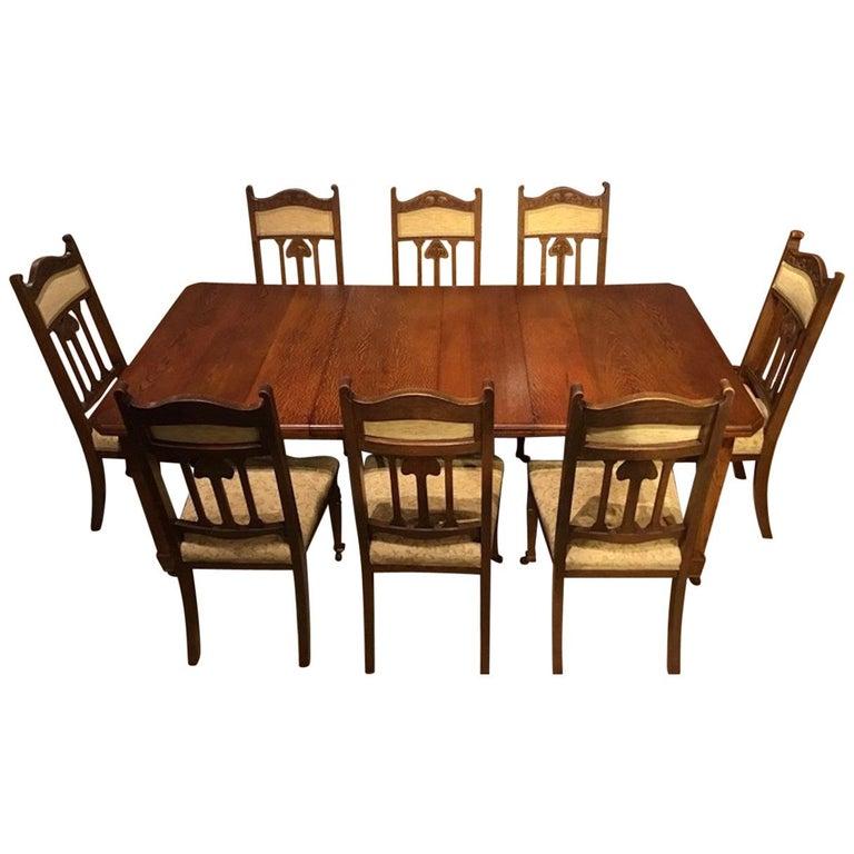 Wondrous Oak Arts And Crafts Period Extending Dining Table And 8 Inzonedesignstudio Interior Chair Design Inzonedesignstudiocom