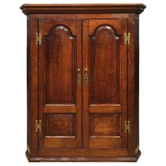 Oak George III Period Double Door Antique Corner Cupboard