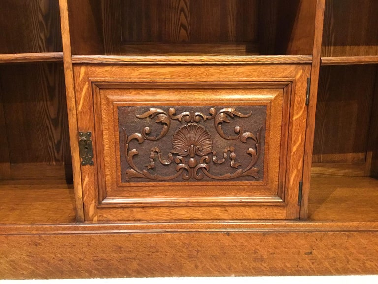 Oak Late Victorian Period Open Bookcase For Sale 1