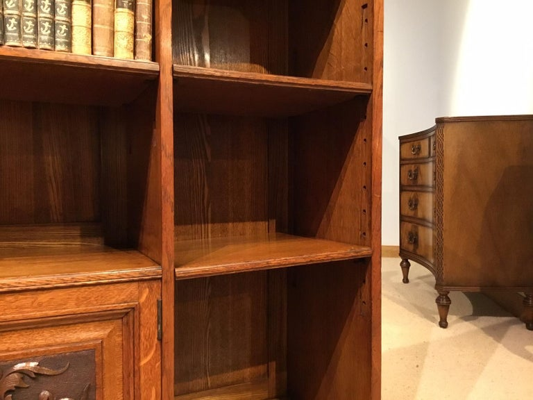 Oak Late Victorian Period Open Bookcase For Sale 2