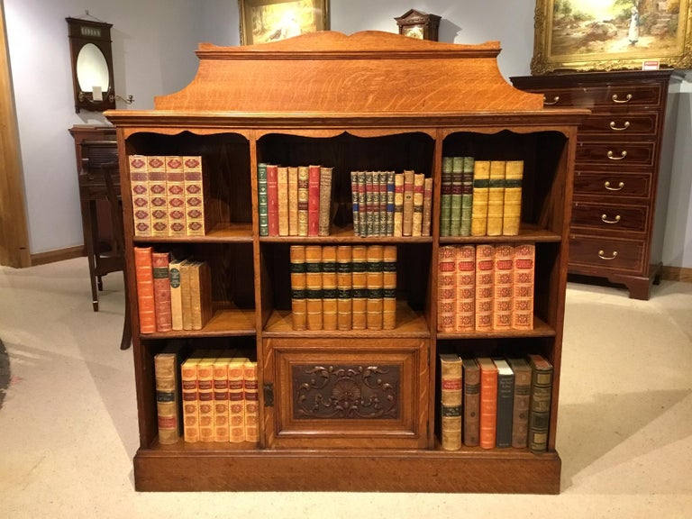 Oak Late Victorian Period Open Bookcase For Sale 4