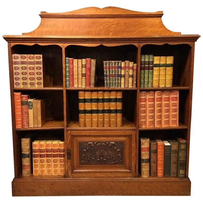 Oak Late Victorian Period Open Bookcase For Sale