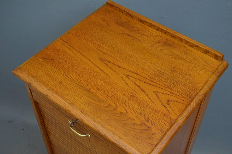 Sn4271, turn of the century oak, tambour fronted filing cabinet of soft  color, - Oak Tambour Filing Cabinet At 1stdibs