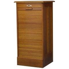 Oak Tambour Filing Cabinet