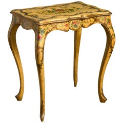 Ochre and Polychrome Painted Rococo End Table