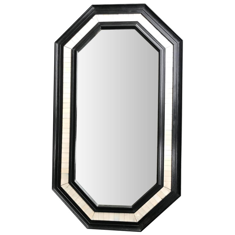 Octagonal Ebonized Wooden Framed Mirror with Bone Inlay Surround
