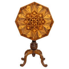 Octagonal Indigenous Specimen Wood Marquetry Table