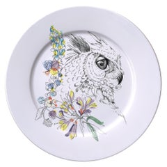 Ode to the Woods, Contemporary Porcelain Dinner Plate with Owl and Flowers