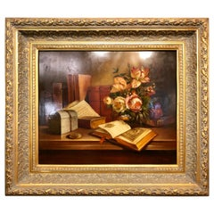 Oil Canvas Still Life of a Book and Flowers Signed Miguel Gallyas