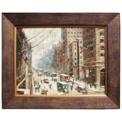 "Oil on Board ""A Snowy Day in New York"" After Guy Carleton Wiggins"