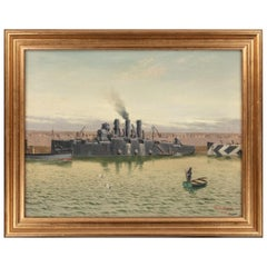 Oil on Canvas by R G Thurgood HM Cruiser 'Vindictive'