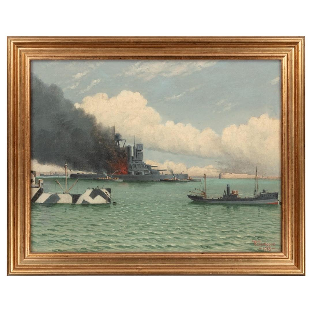 Oil on Canvas Seascape by T G Thurgood England, circa 1920