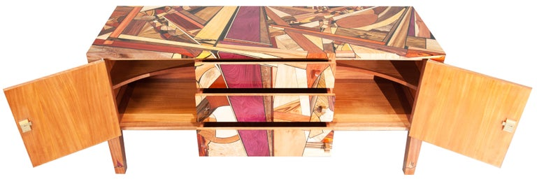 Hand-Crafted Colorful, Art Inspired,  Mosaic Decorated, Meticulously  Crafted, Credenza For Sale