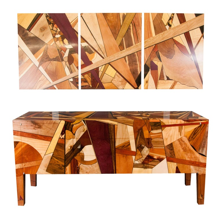 Colorful, Art Inspired,  Mosaic Decorated, Meticulously  Crafted, Credenza In New Condition For Sale In New Market, MD