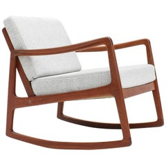 Ole Wanscher Model 120 Teak Rocking Chair for France & Son, Denmark, 1960s