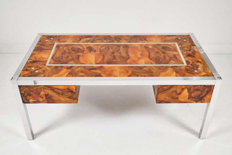 Mid-Century Modern Olive Burl and Aluminum Desk For Sale