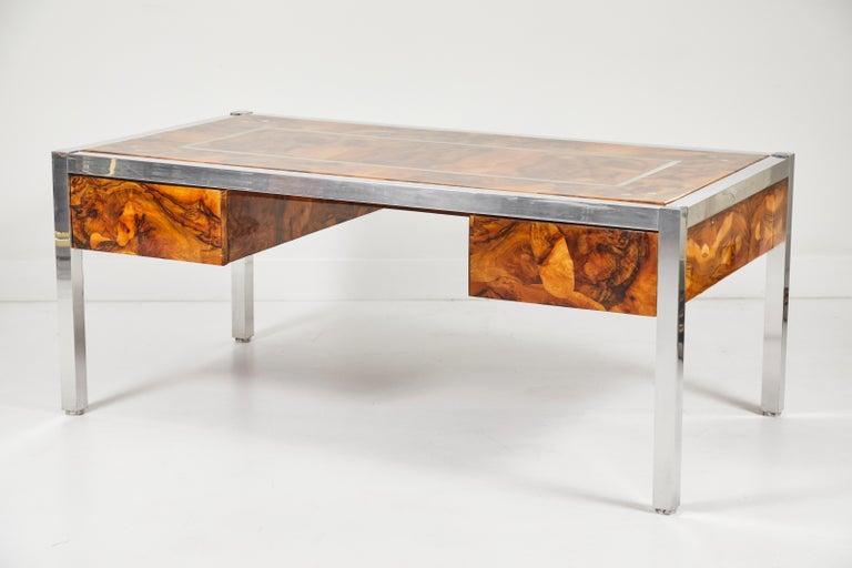 American Olive Burl and Aluminum Desk For Sale