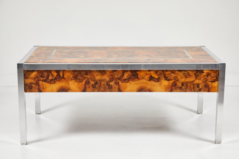 Lacquered Olive Burl and Aluminum Desk For Sale
