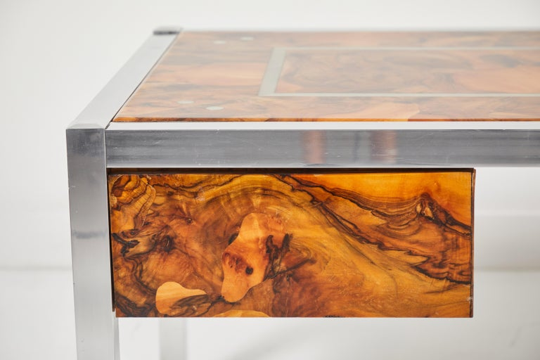 Olive Burl and Aluminum Desk In Good Condition For Sale In Palm Desert, CA