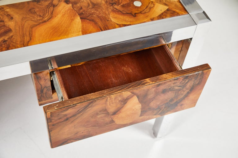 Late 20th Century Olive Burl and Aluminum Desk For Sale