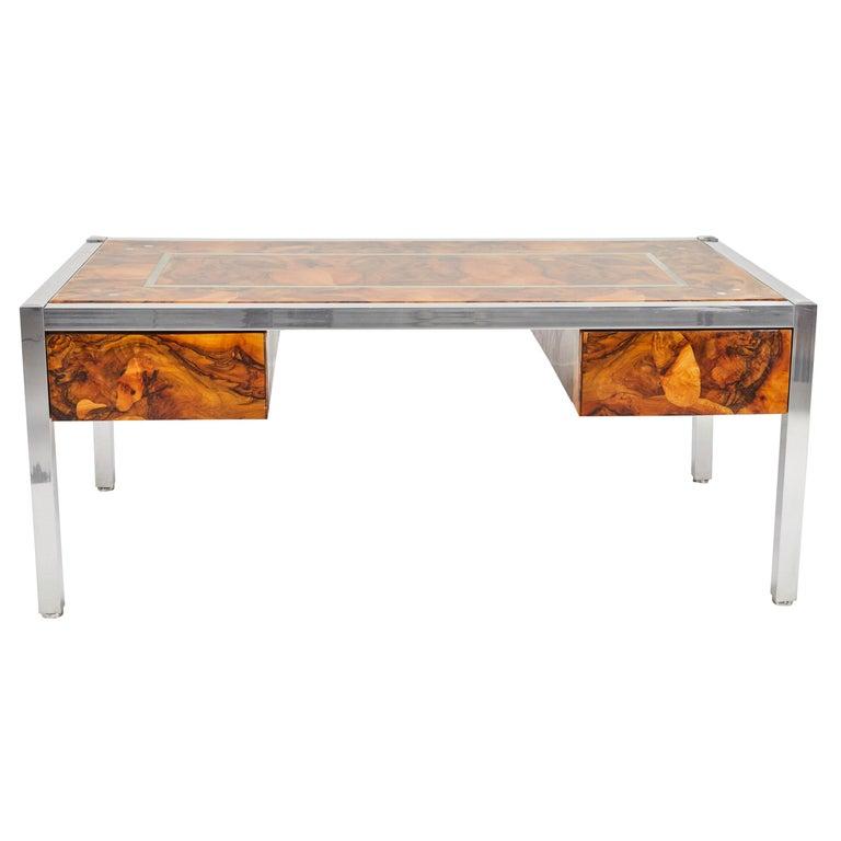 Olive Burl and Aluminum Desk For Sale
