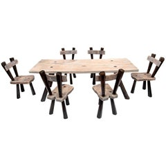 Olive Wood Constructivist Table and 6 Chairs from the Balearics