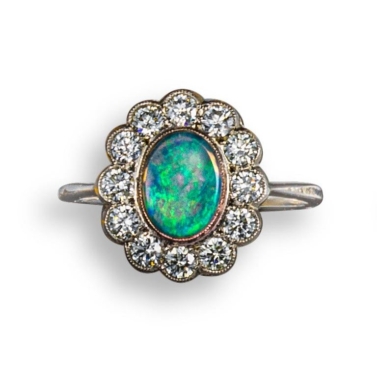 Retro Opal and Diamond Cluster Ring For Sale