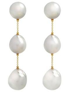 An Order of Bling Baroque Pearl Earrings, 18 Karat Yellow Gold