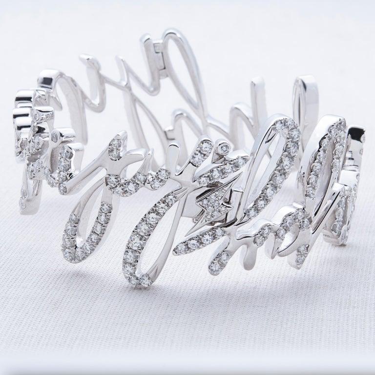 Contemporary Diamond Bangle, 18 Karat White Gold For Sale