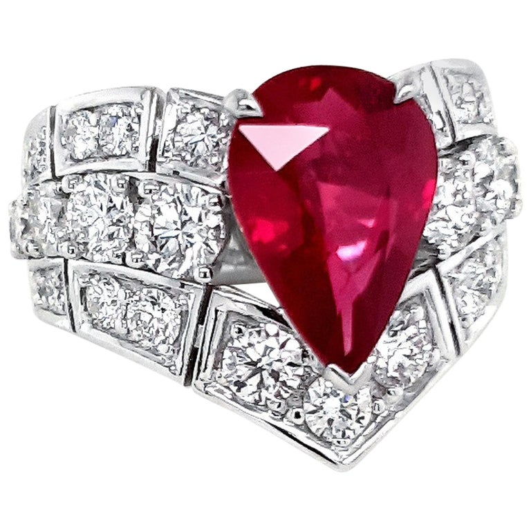 An Order of Bling Unheated Ruby and Diamond Ring For Sale