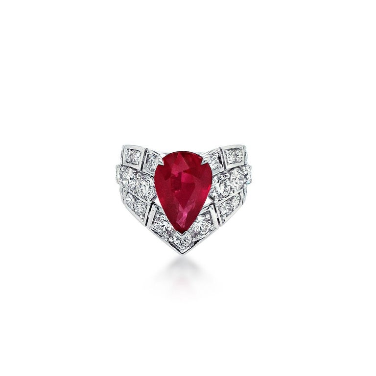 """Collection: The Gem Made Me Do It  Title:  """"Passion is Red"""" Ring This 4.02ct Unheated Ruby is a passionate red evoking emotions that are as rich as the colour and the juicy diamonds that surround it.  It's the colour with depth and warmth that those"""