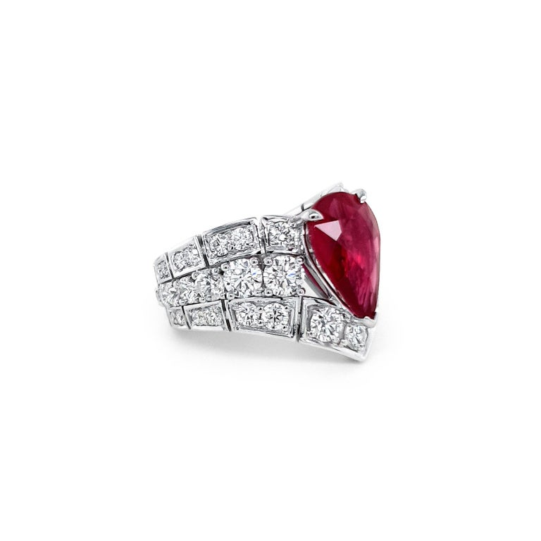Modern An Order of Bling Unheated Ruby and Diamond Ring For Sale