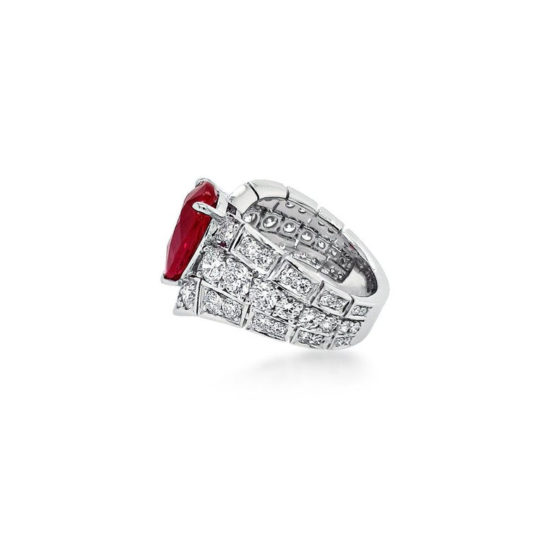 Pear Cut An Order of Bling Unheated Ruby and Diamond Ring For Sale