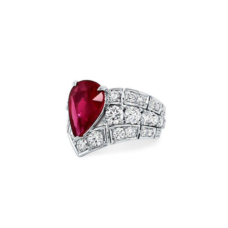 An Order of Bling Unheated Ruby and Diamond Ring In New Condition For Sale In Singapore, SG