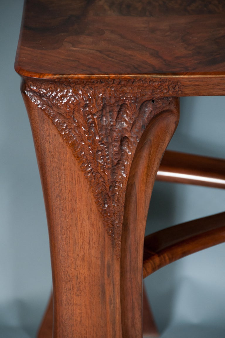 Highly Figured Organic Live Edge and Carved  Walnut Coffee and End Table Suite For Sale 4