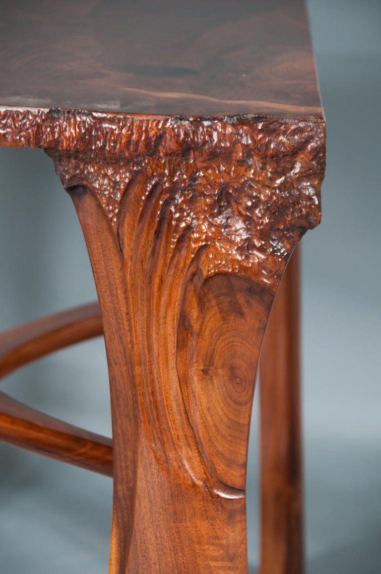 Highly Figured Organic Live Edge and Carved  Walnut Coffee and End Table Suite For Sale 5