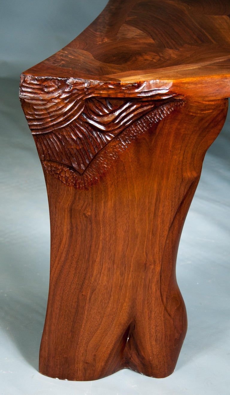 Highly Figured Organic Live Edge and Carved  Walnut Coffee and End Table Suite For Sale 6