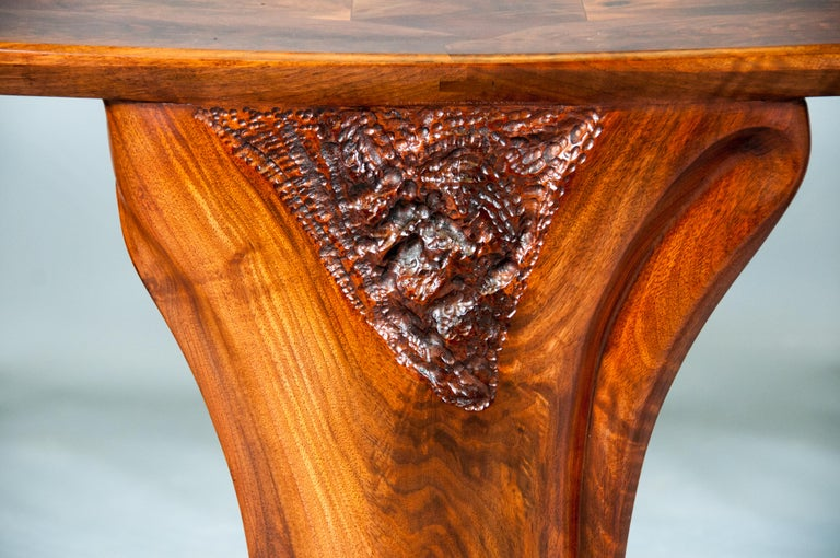 Highly Figured Organic Live Edge and Carved  Walnut Coffee and End Table Suite For Sale 8
