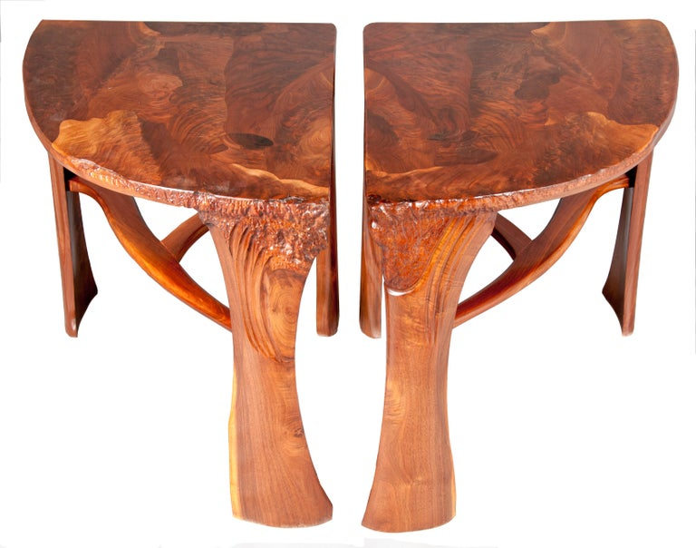 Organic Modern Highly Figured Organic Live Edge and Carved  Walnut Coffee and End Table Suite For Sale