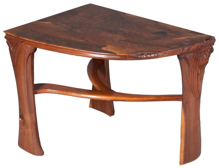 American Highly Figured Organic Live Edge and Carved  Walnut Coffee and End Table Suite For Sale