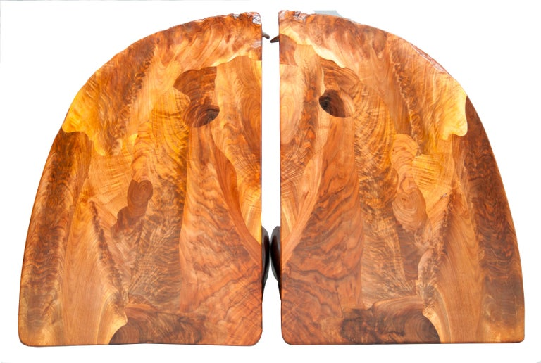 Highly Figured Organic Live Edge and Carved  Walnut Coffee and End Table Suite For Sale 1